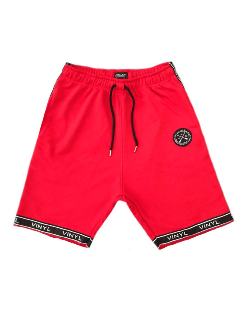 VINYL ART CLOTHING RED LOGO TAPED SHORTS