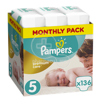 PAMPERS - MONTHLY PACK PREMIUM CARE No5 (11-18kg) - 136 πάνες