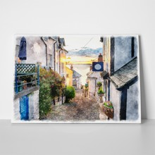 Watercolour streets england devon 296125061 a