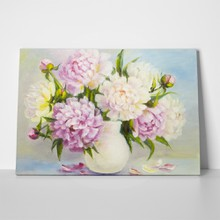 Light peonies in vase a