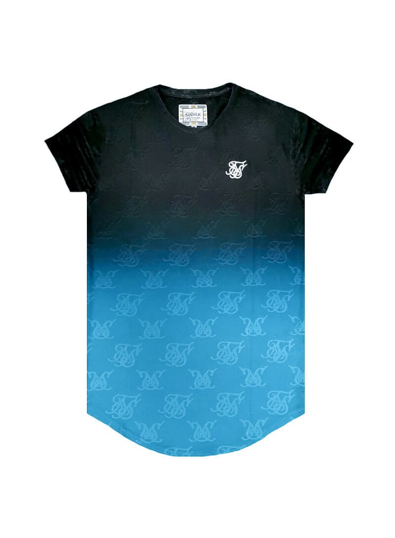 SikSilk Monogram Fade Gym Tee – Black & Teal