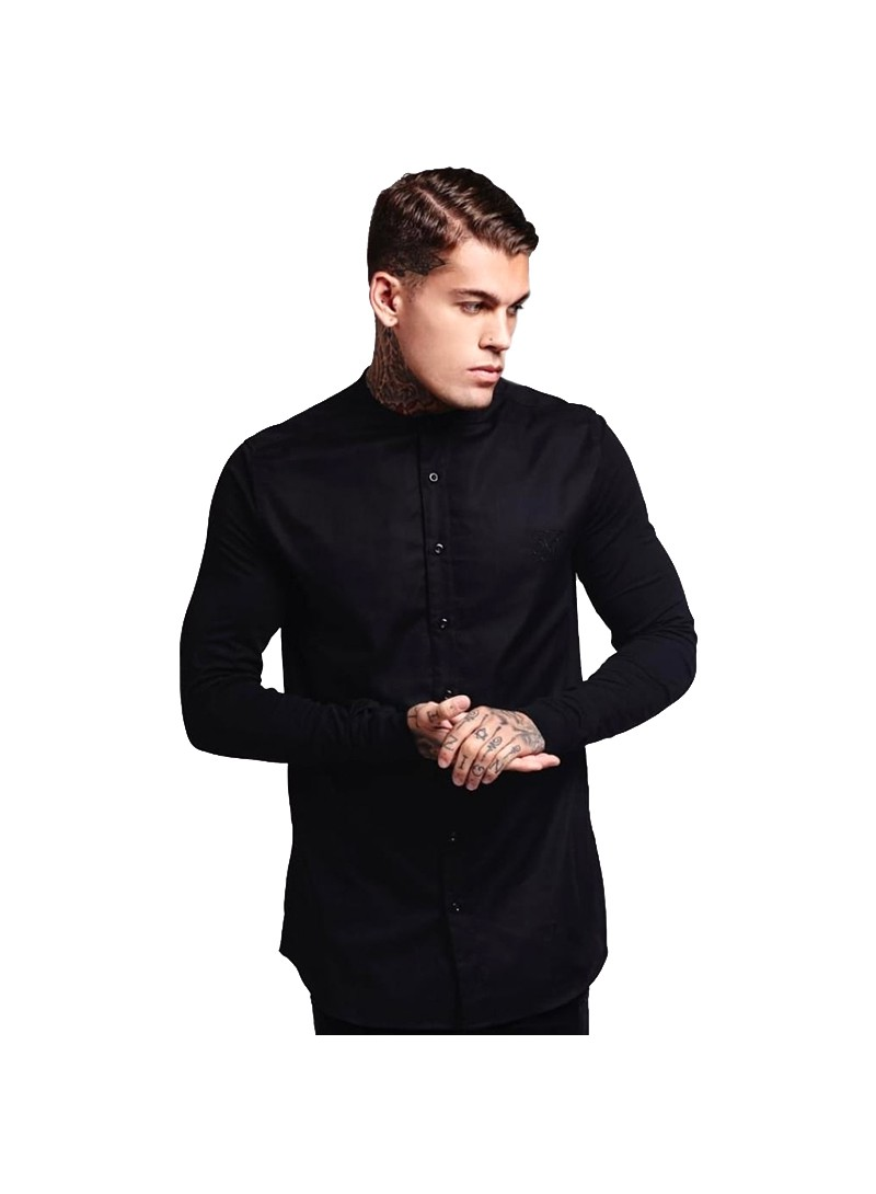 SikSilk Grandad Collar Jersey Sleeve Fitted Shirt – Black