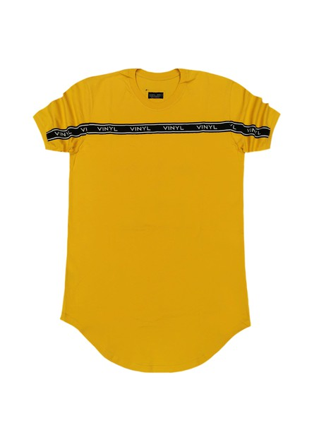 VINYL ART CLOTHING YELLOW TAPED STRIPE T-SHIRT
