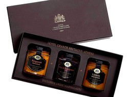 Set of homemade marmalades in brown box