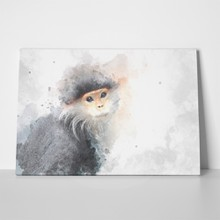 Monkey on watercolor 611453858 a