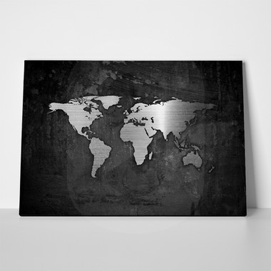 Rectangular canvas print silver world map dec0 rectangular canvas print silver world map gumiabroncs Gallery