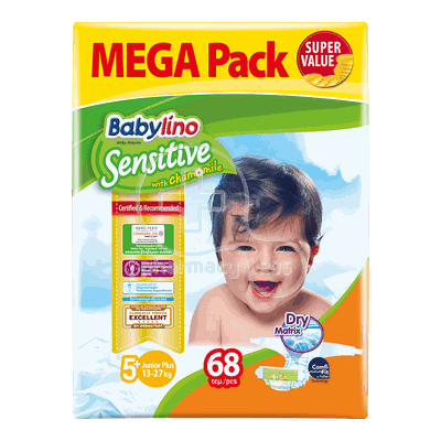 BABYLINO - MEGA PACK Babylino Sensitive Junior No5+ (13-27 Kg) - 68 πάνες