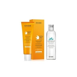 Babe Sun Promo Facial Oil-Free Sunscreen Cream 50+ Dry Touch 50ml & Micellar Water Travel Size 100ml
