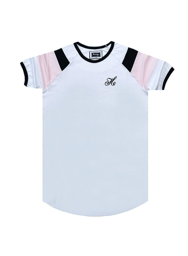 HENRY CLOTHING WHITE T-SHIRT WITH SLEEVE STRIPES