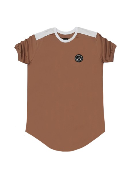 VINYL ART CLOTHING BROWN CONTRAST SLEEVE STRIPE T-SHIRT