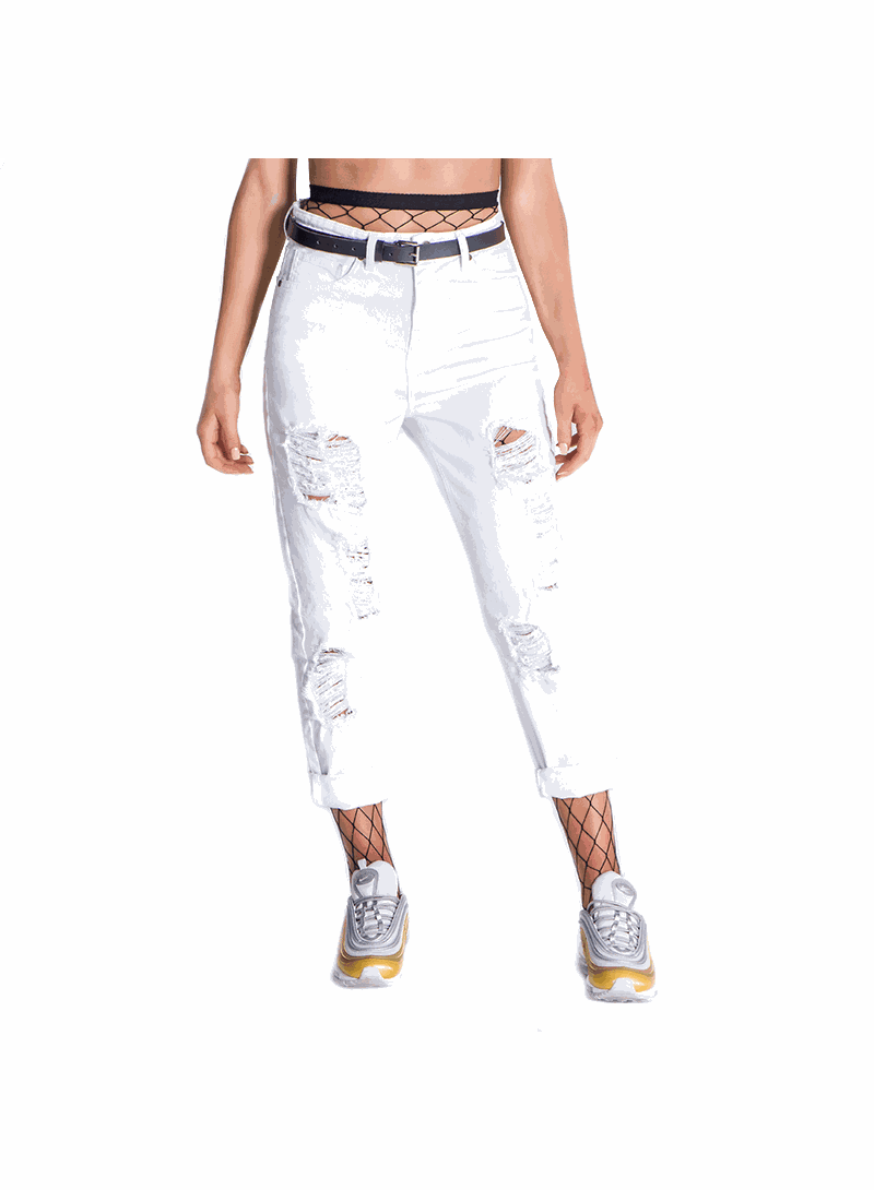 Gianni Kavanagh White Ripped Mom Jeans