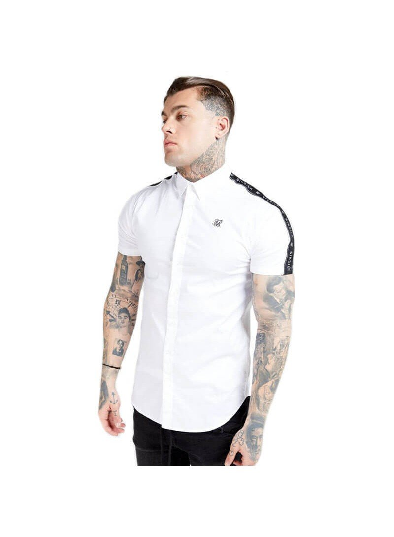 SikSilk S/S Piped Tape Shirt – White