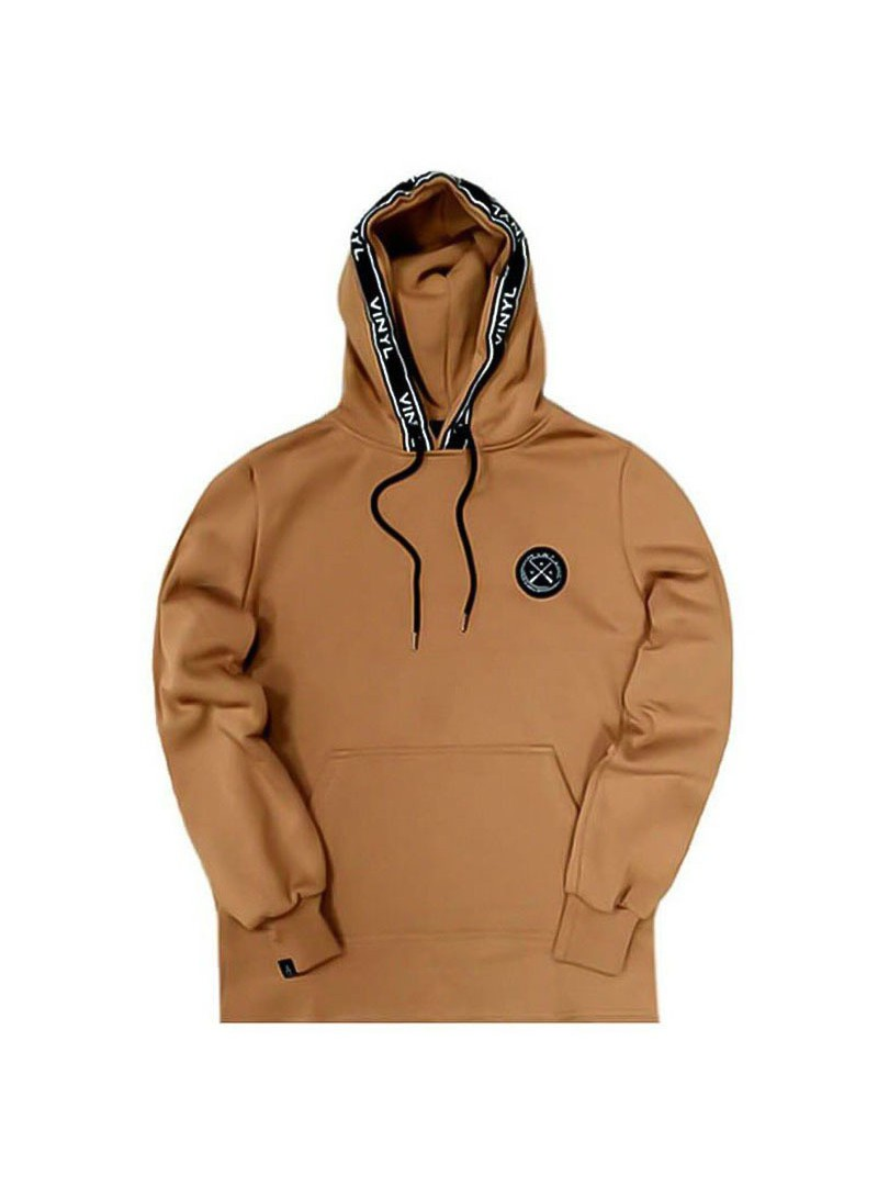 VINYL ART CLOTHING HOODIE WITH TAPED DETAILS BROWN