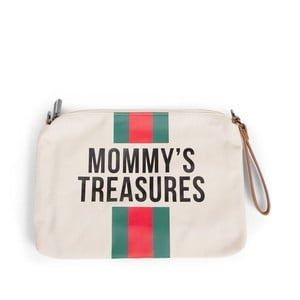 36ffa69e741 Νεσεσέρ Mommy Treasures Clutch Canvas Off White Stripes Green/Red
