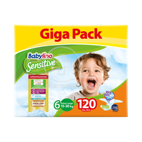 BABYLINO - GIGAPACK SENSITIVE Extra Large No6 (15-30kg) - 120 πάνες