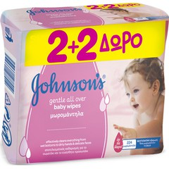 Johnson's Baby Wipes Gentle All Over - Μωρομάντηλα, 2+2x56τμχ
