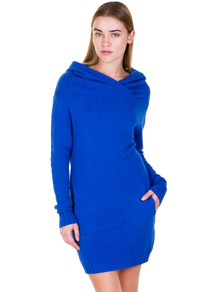 Knit dress with hood