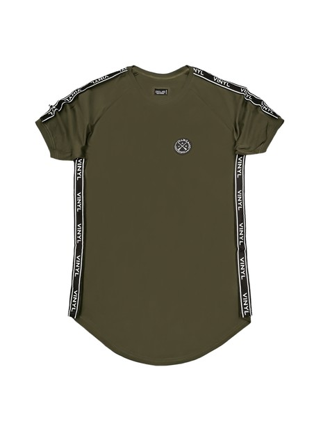 VINYL ART CLOTHING PERIMETRIC TAPED KHAKI T-SHIRT
