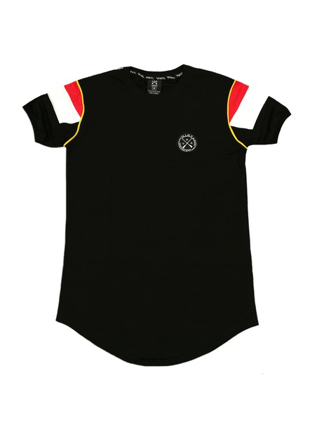 VINYL ART CLOTHING BLACK LOGO TAPE T-SHIRT WITH 2-STRIPES SLEEVES