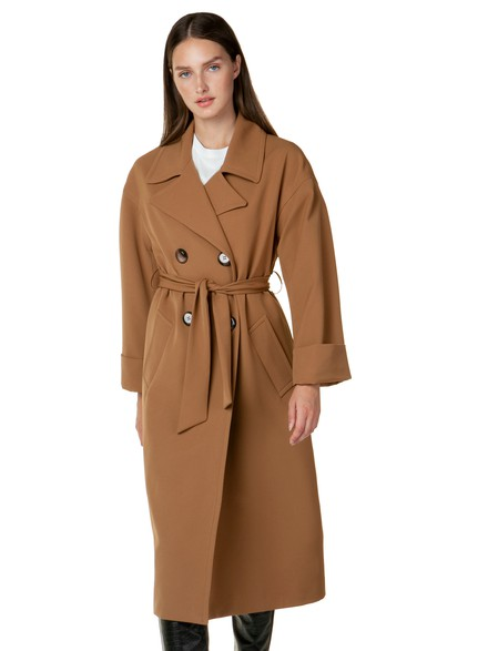 Trench coat with ribbon