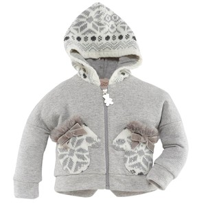 Sweatshirt Jacket With Knitted Hood