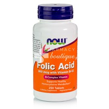 Now Folic Acid 800 mcg, w/ Vitamin B-12 Vegetarian,  250tabs