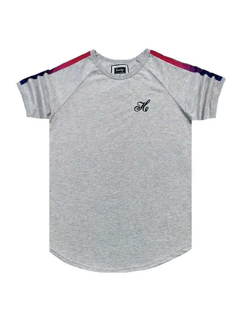 HENRY CLOTHING GREY T-SHIRT WITH FADE RIBBON