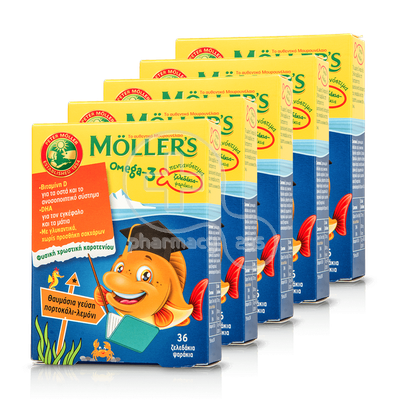 MOLLER'S - PROMO PACK 5 ΤΕΜΑΧΙΑ Omega-3 - 5Χ36 fish jellies πορτοκάλι-λεμόνι