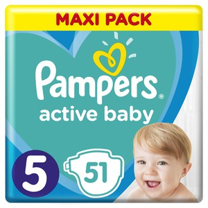 Pampers active baby no5 51diapers boxpharmacy.gr