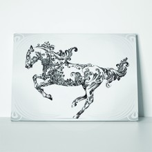Running horse floral ornament 664330735 a