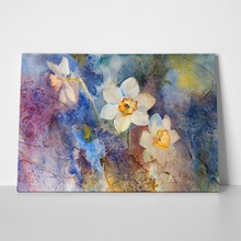 Daffodils on colorful background watercolor 92053448 a