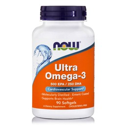 Now Ultra Omega 3 500 mg, 75% Molecularly Distilled, 90 softgels