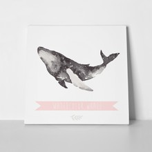 Cute watercolor hand drawn whale 250882648 a