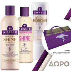 Aussie Miracle Shine Shampoo Σαμπουάν 300ml + Miracle Shine Conditioner Μαλακτική Κρέμα 250ml + 3 Minute Miracle Shine Deep Treatment Εντατική Μάσκα Μαλλιών 250ml + Δώρο. Σετ περιποίησης μαλλιών.