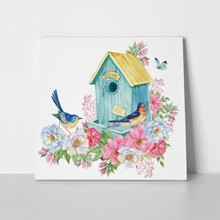 Bird house blue butterfly spring 1042565980 a