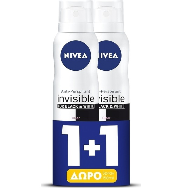 NIVEA DEO BLACK + WHITE CLEAR INVISIBLE SPRAY ΓΥΝΑΙΚΕΙΟ 150ML PR(1+1)
