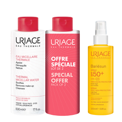 Uriage Πακέτο Bariesun Spray SPF 50+ - Αντηλιακό Spray, 200ml + Uriage Thermal Micellar Water Sensitive Skin, 2x500ml