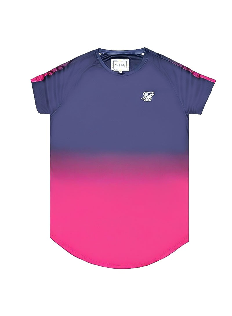 SikSilk  S/S Fade Panel Tech Tee – Navy & Neon Fade