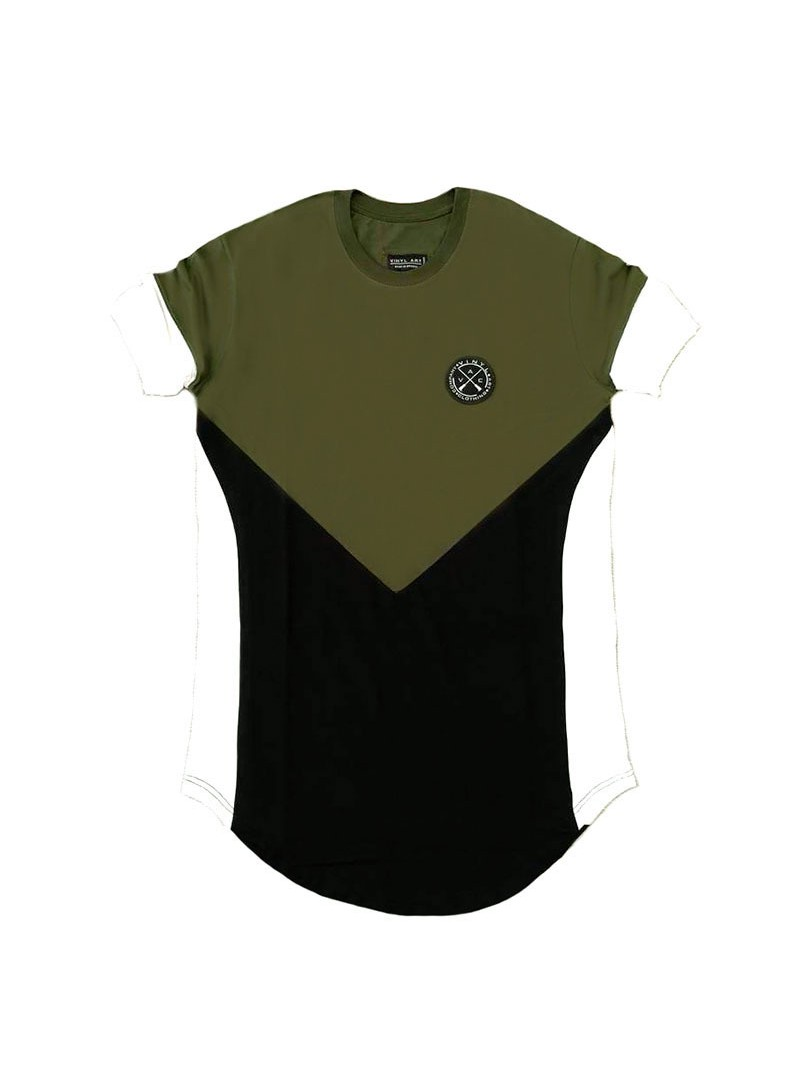 VINYL ART CLOTHING KHAKI/BLACK ASYMMETRIC CORE T-SHIRT