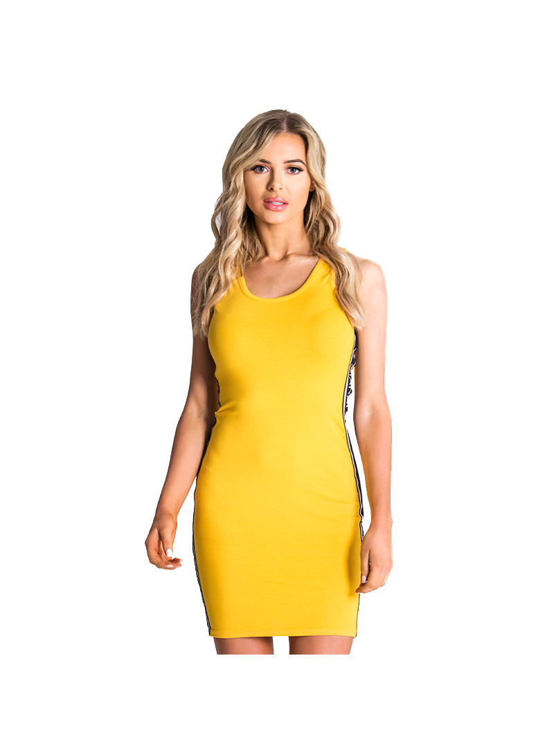 Gianni Kavanagh Yellow Tube Dress With Gk Ribbon