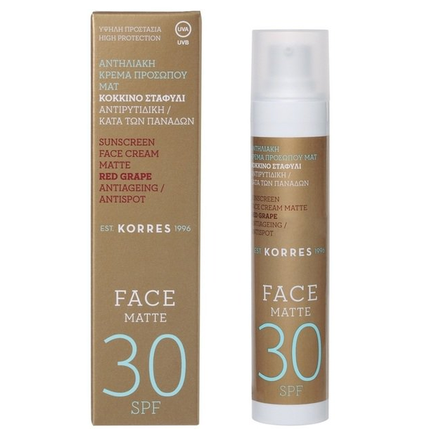 KORRES SUN FACE  SPF30 RED GRAPE CREAM ANTISPOT MAT 50ML