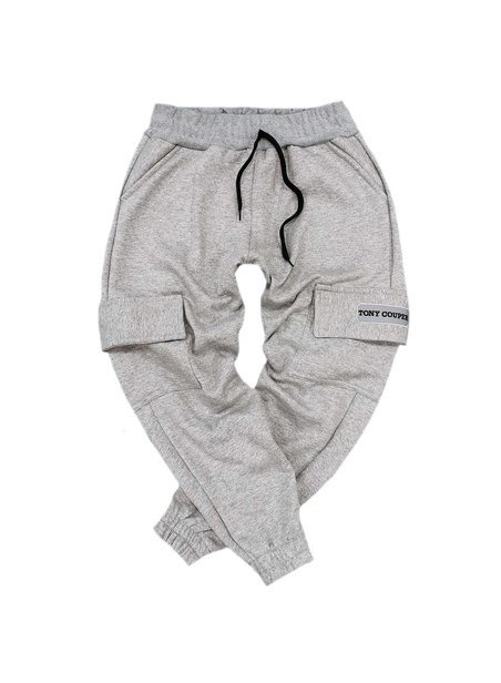 TONY COUPER GREY POCKET TRACKPANTS WITH NEON PATCH