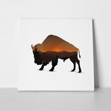 Silhouette buffalo panorama mountain 1047589726 a