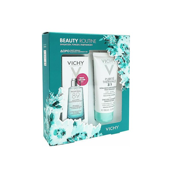 Beauty Routine Mineral 89 Booster καθημερινό booster 50ml & Vichy Purete Thermale γαλάκτωμα καθαρισμού 3in1 100ml