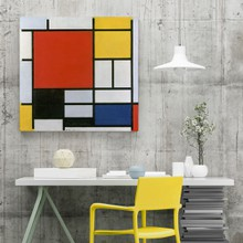 Mondrian   composition with large red plane yellow black gray and blue