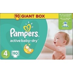 Pampers Active Baby Dry No4 Giant Pack 90 τμχ