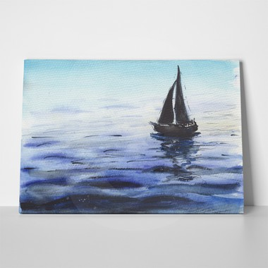 Watercolor sea boat black blue 1120428332 a