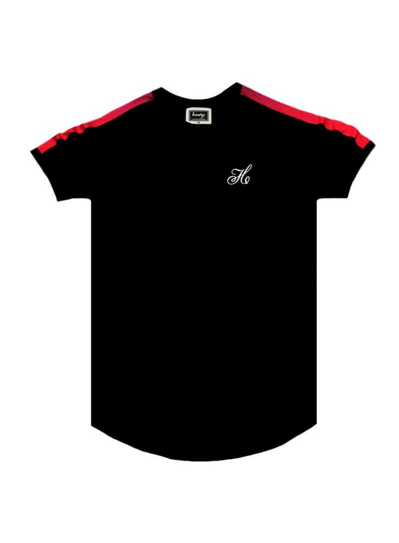HENRY CLOTHING BLACK T-SHIRT WITH FADE RIBBON