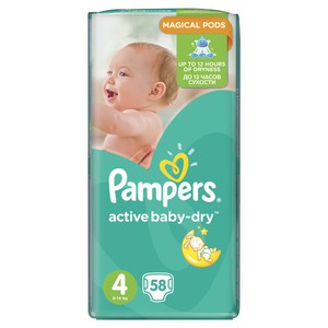 Pampers no4 active baby dry 58pcs