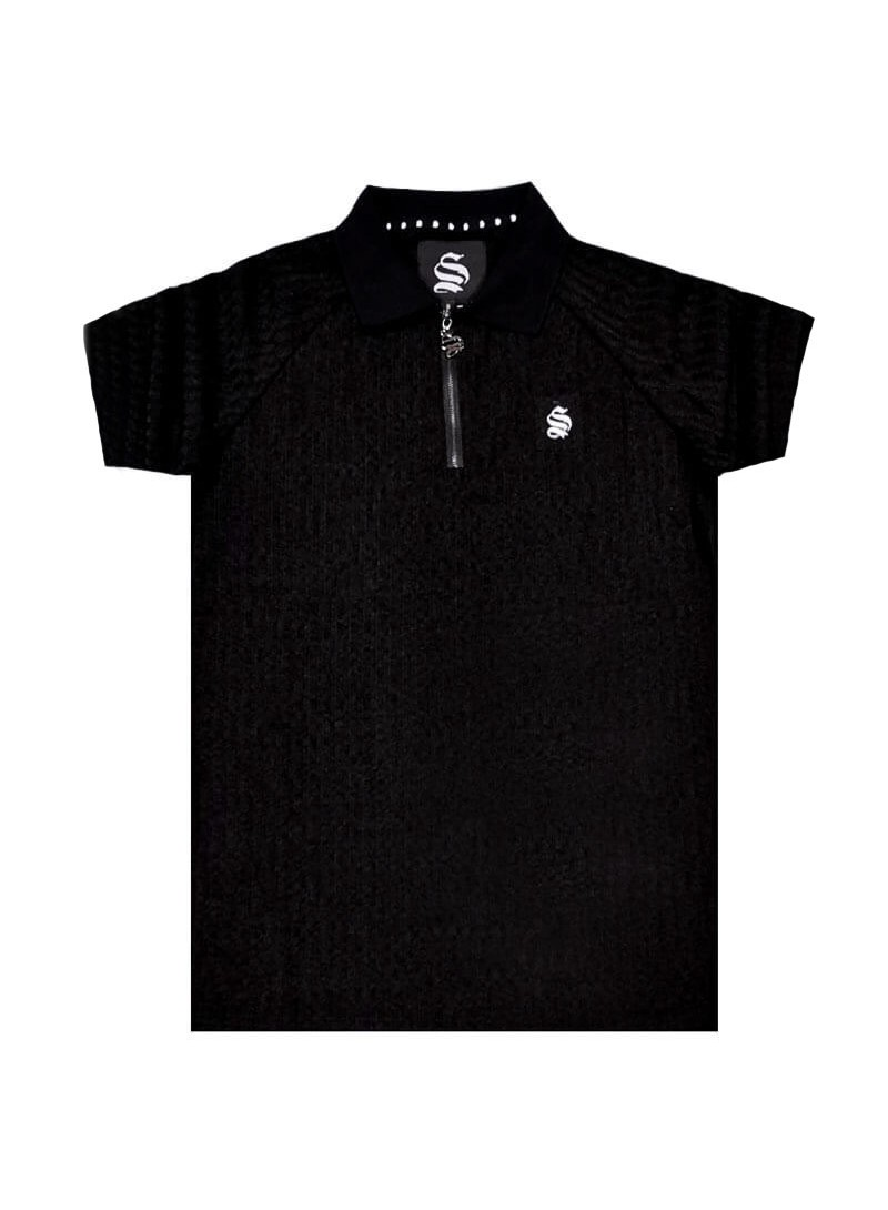 Sinners Attire Ribbed Polo Shirt – Black